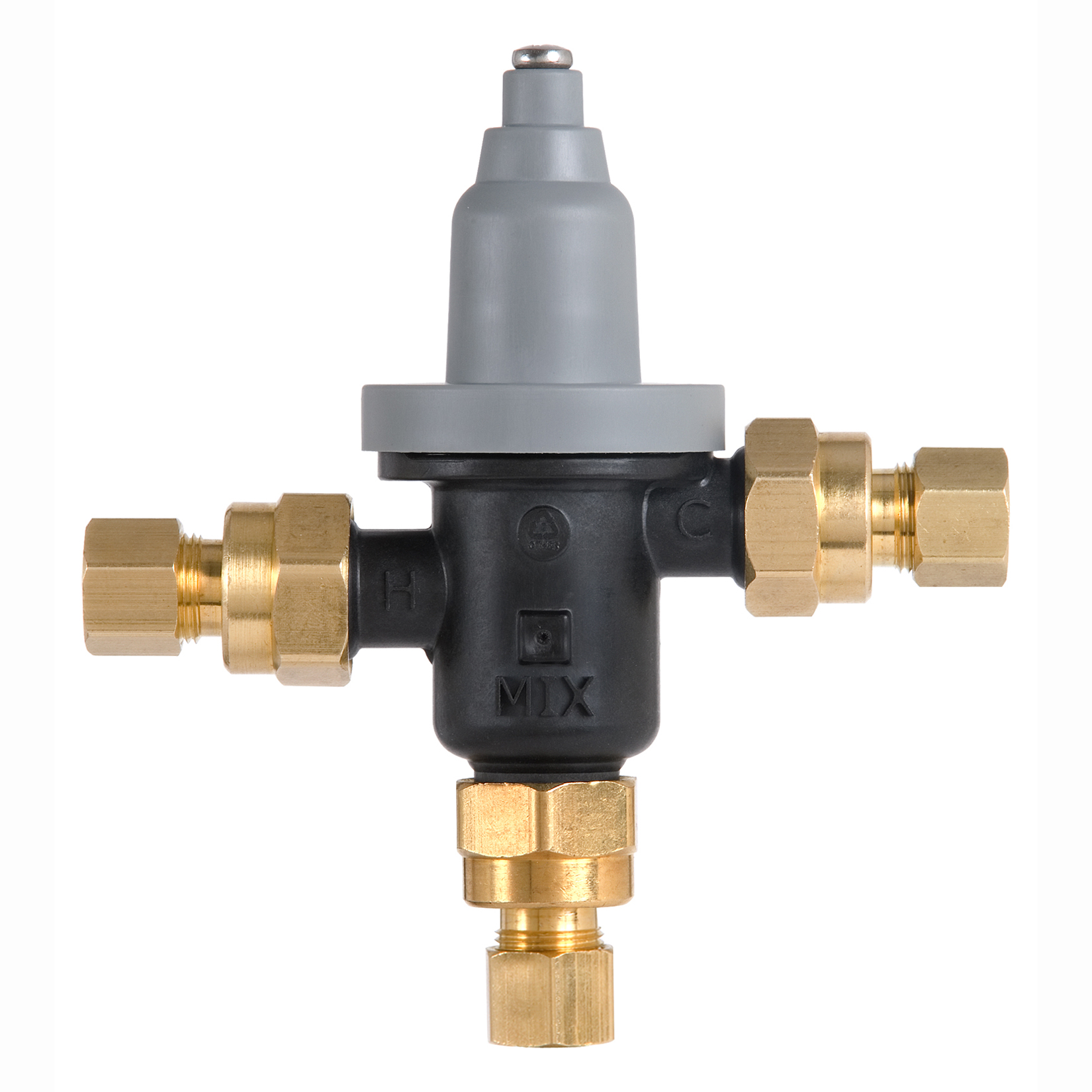 "Thermostatic Mixing Valve: Point-of-Use Valve With 3/8"" Compression Fittings"