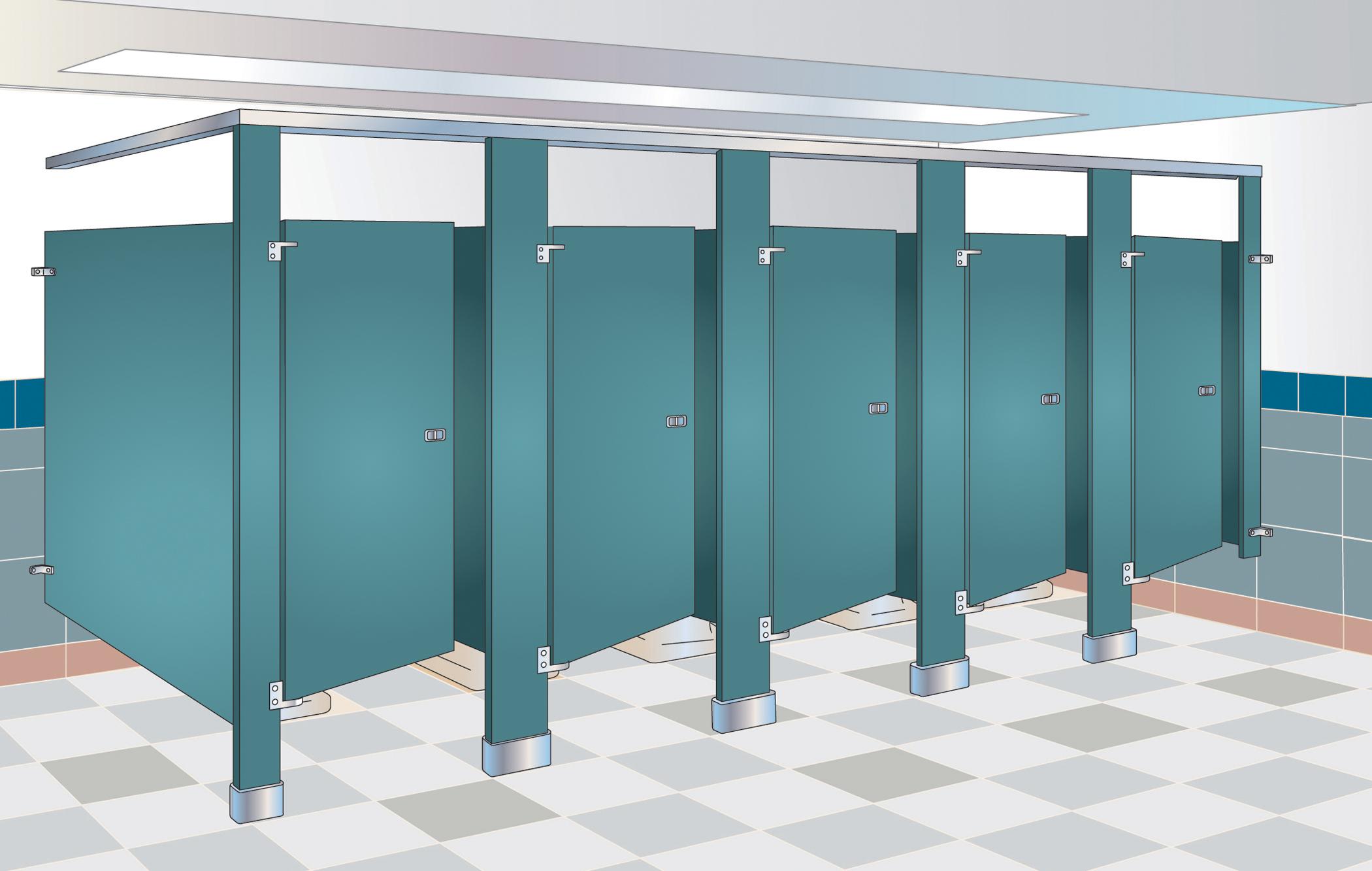 Pisos Para Baños Publicos:Overhead Braced Toilet Partitions