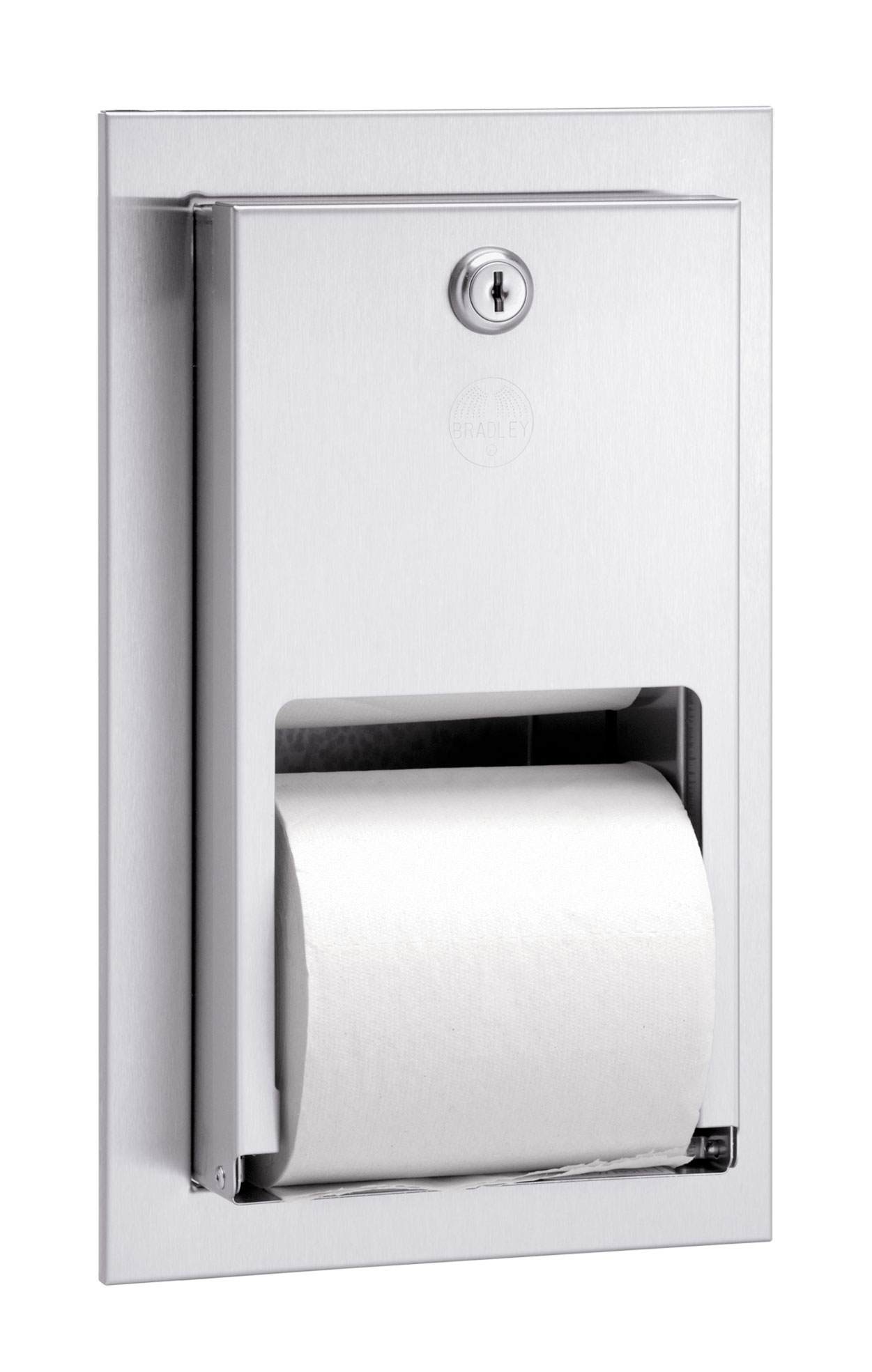 Bradley Bathroom Accessories Recessed Stainless Steel Stacking Rolls Toilet Tissue Dispenser
