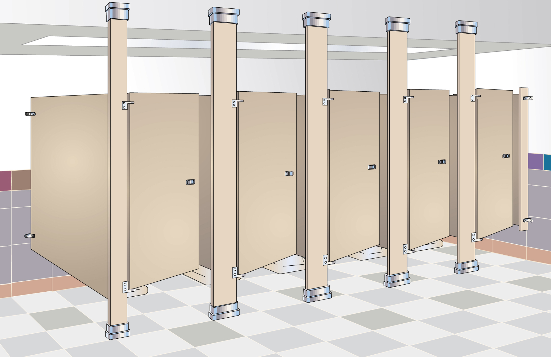 Bradley bathroom accessories - Floor To Ceiling Mounted Toilet Partitions