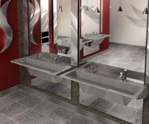 restroom featuring 2 station R-Series Verge Lavatory Systems