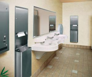 Bradley's Express Lavatory System in the washroom combines great looks with the durability to stand up to the toughest high traffic applications.