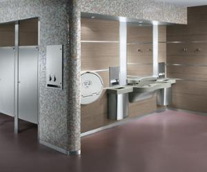 The modern elegance of this restroom is enhanced by the smooth curves of the Express Lavatory System featuring environmentally friendly NDITE technology, and the cool tones of the stainless steel Mills partitions, and washroom accessories.