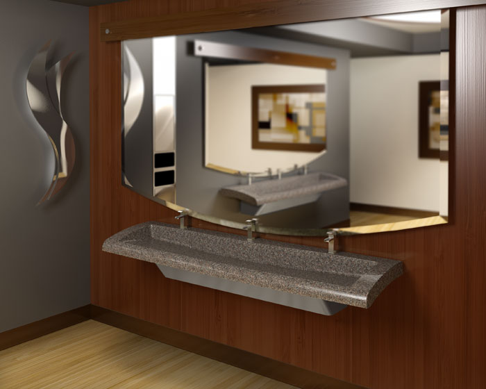 Bradley Commercial Sinks : restroom featuring a 3 station G-Series Verge Lavatory System