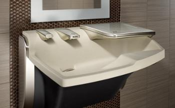 sink with soap dispenser, water, and hand dryer in one fixture - Advocate Handwashing Station