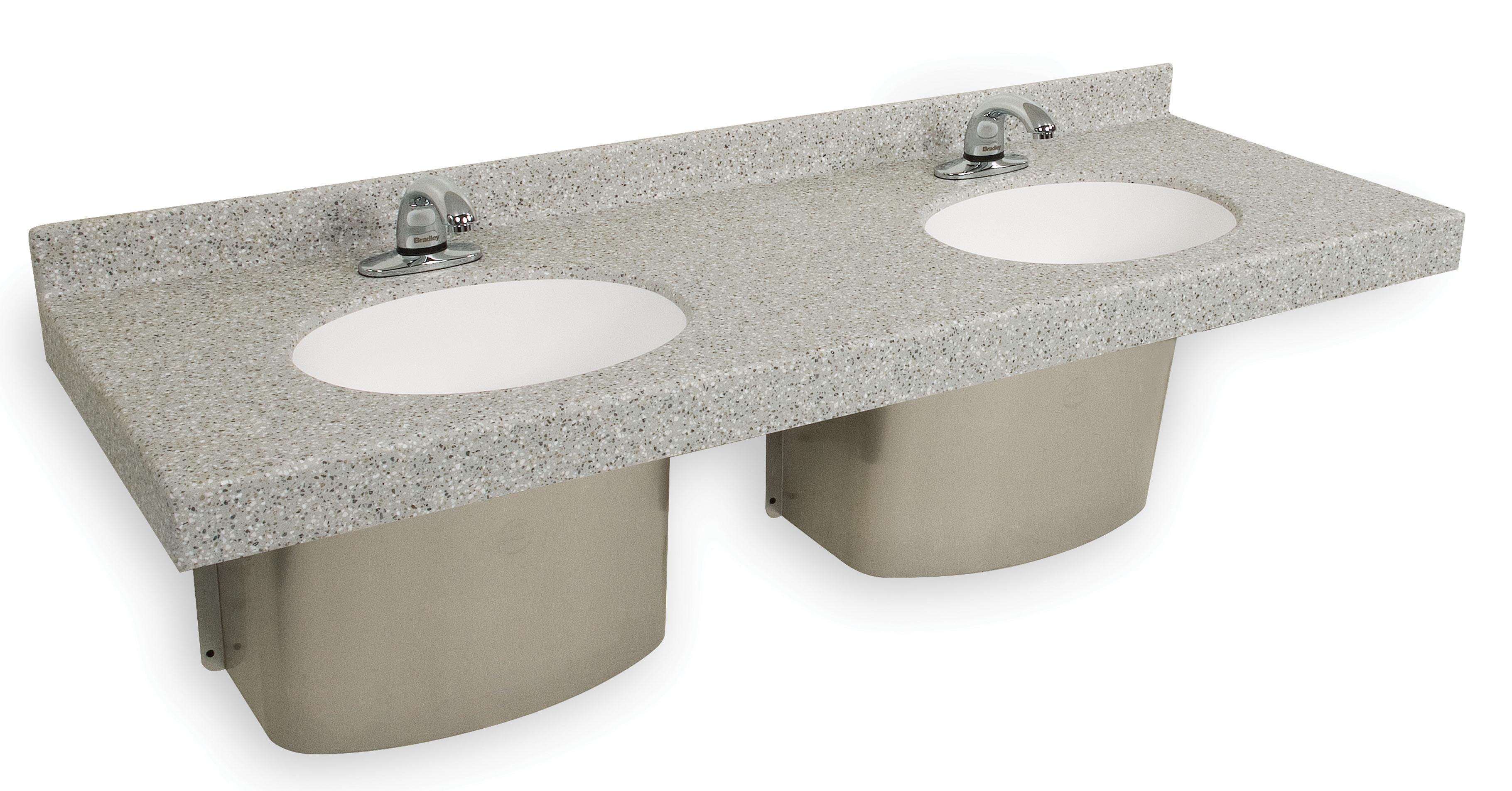 Omnideck con lavamanos ovalado bradley corporation for Lavamanos empotrados