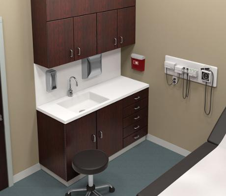 Health care wash station featuring Terreon solid surface undermount basin