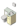 BIM model of a patient care combination sink, toilet and bedpan washer unit left configuration floor mount - Model LC840-L-Floor