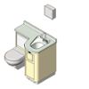 BIM model of a patient care combination sink, toilet and bedpan washer unit right configuration wall mount - Model LC840-L-Wall