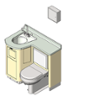 BIM model of a patient care combination sink, toilet and bedpan washer unit right configuration floor mount - Model LC840-R-Floor