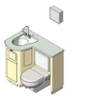 BIM model of a patient care combination sink, toilet and bedpan washer unit - Model LC840-R-Wall
