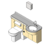 BIM model of a patient care combination sink, toilet, bedpan washer, and storage closet unit left configuration left configuration - Model LC2000-L