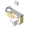 BIM model of a patient care combination sink, toilet, bedpan washer, and storage closet unit right configuration - Model LC2000-R