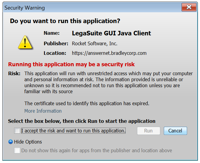 Java Security Warning - Do you want to run this application?