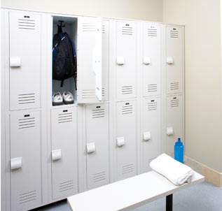 locker room featuring Lenox solid plastic lockers and pedestal bench
