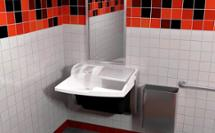 3-in-1 Advocate AV-series sink with co-located soap water and hand drying at a sandwich store restroo