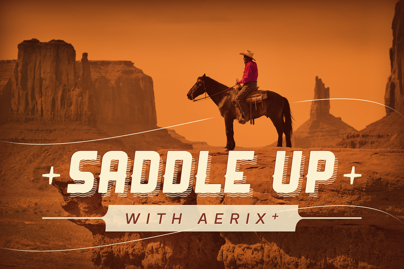 Saddle up with Aerix Hand dryers text on top of image of a cowboy overlooking a canyon