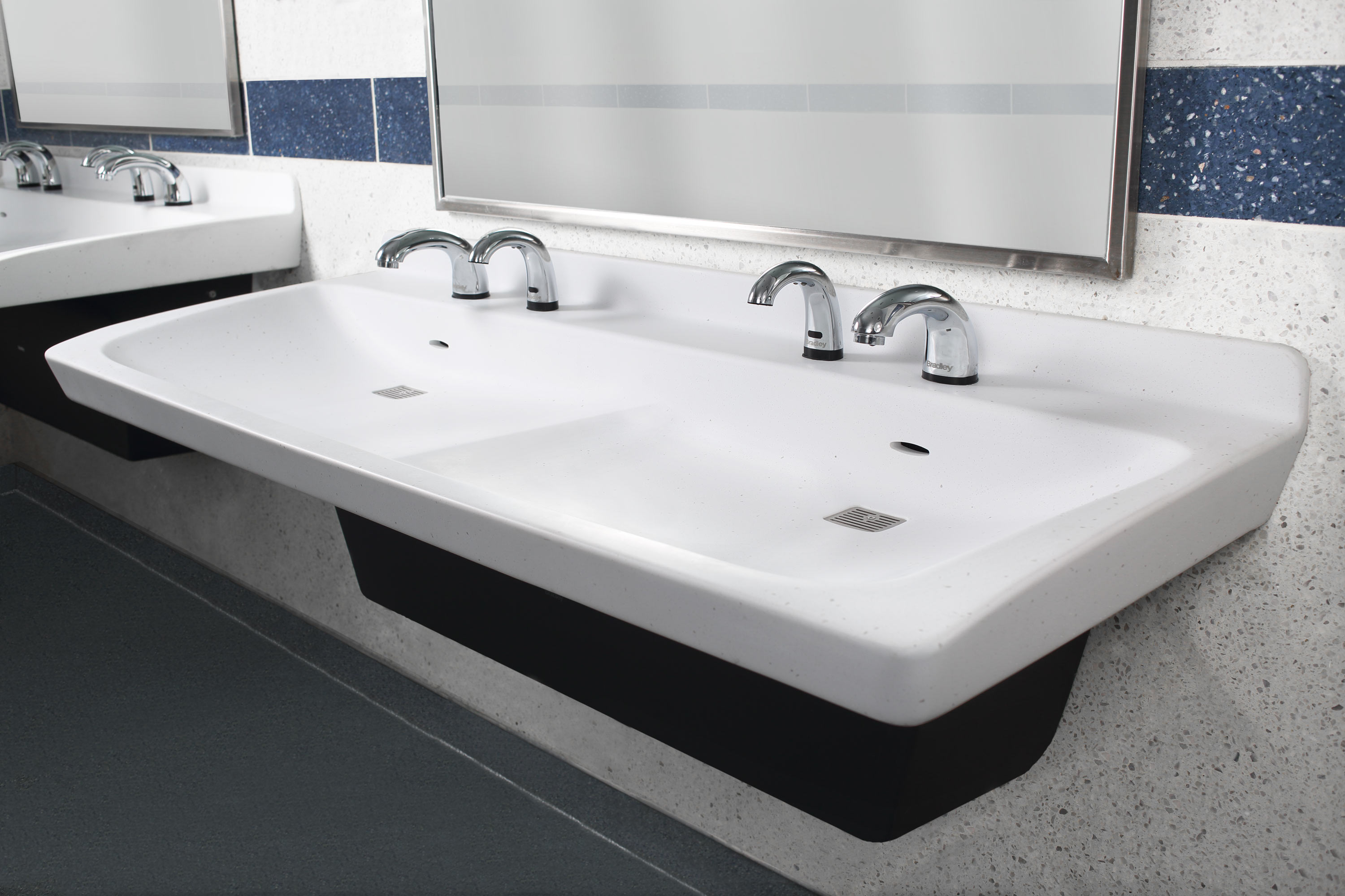 Exceptional Commercial Bathroom Sink Made Of Natural Quartz Surface