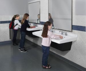 girls washing their hands at a school bathroom sink made of   Terreon solid surface - Express ELX-Series Model ELX-2