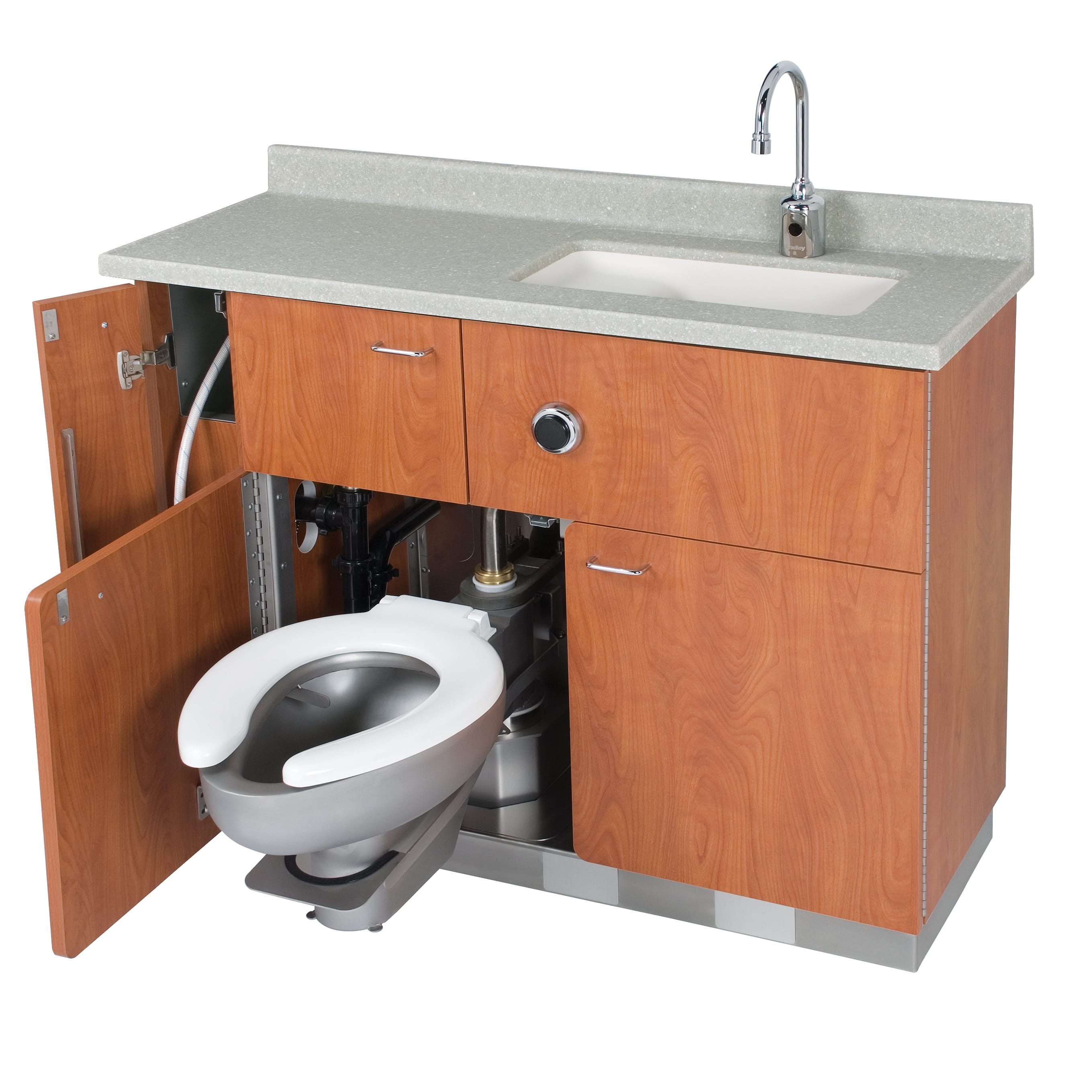 Lavatory swing out water closet bed pan washer comby for Toilet and sink combo