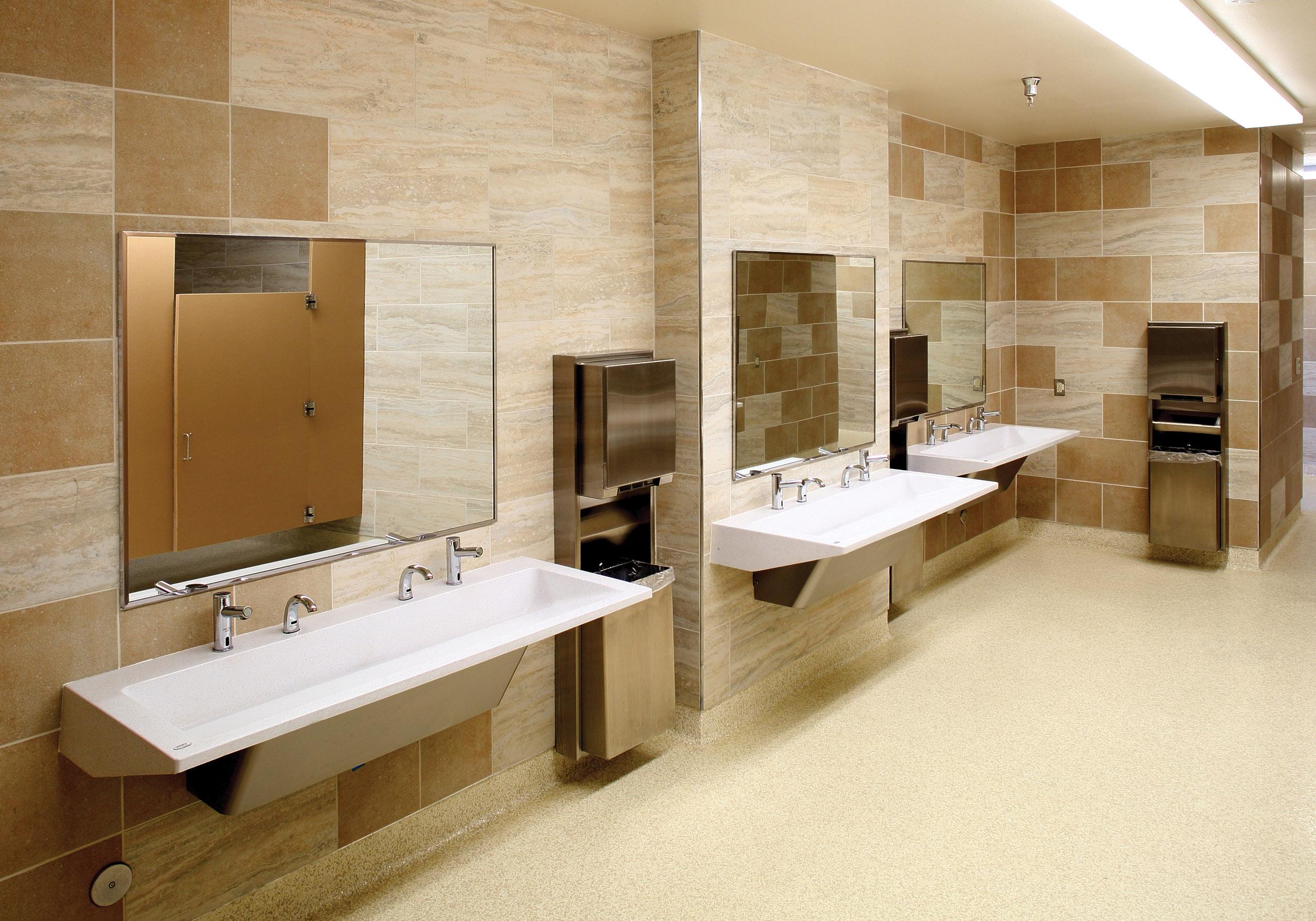 bradley bathroom. Restroom Featuring A 3 Station R-Series Verge Lavatory System Bradley Bathroom