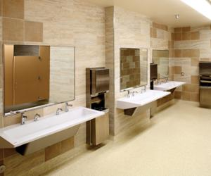 restroom featuring a 3 station R-Series Verge Lavatory System