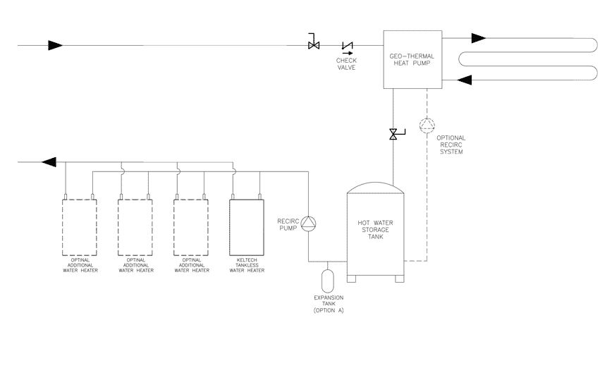 geothermal heating system and tankless booster plumbing diagram