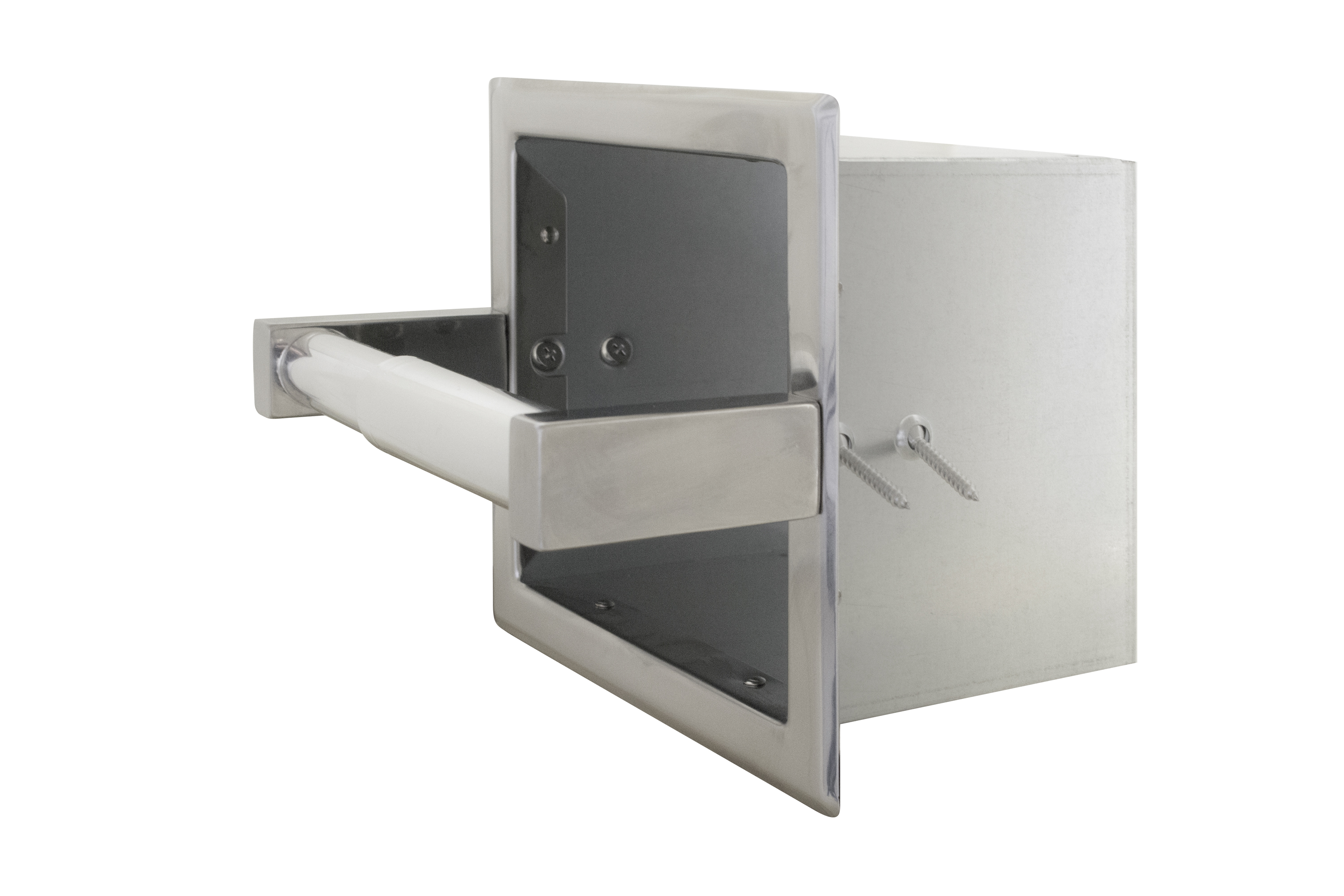 Recessed single roll toilet tissue dispenser with spare roll bradley corporation - Recessed toilet paper dispenser ...