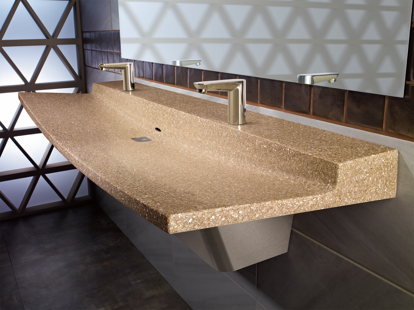 Commercial Bathroom Sink Made Of Natural Quartz Surface