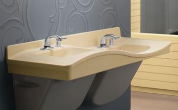 multi-height sink system for universal accessibility - Frequency Lavatory Systems