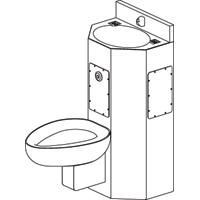 Combined toilet and sink for security applications with front mounting and straight toilet - Model COMBI5600