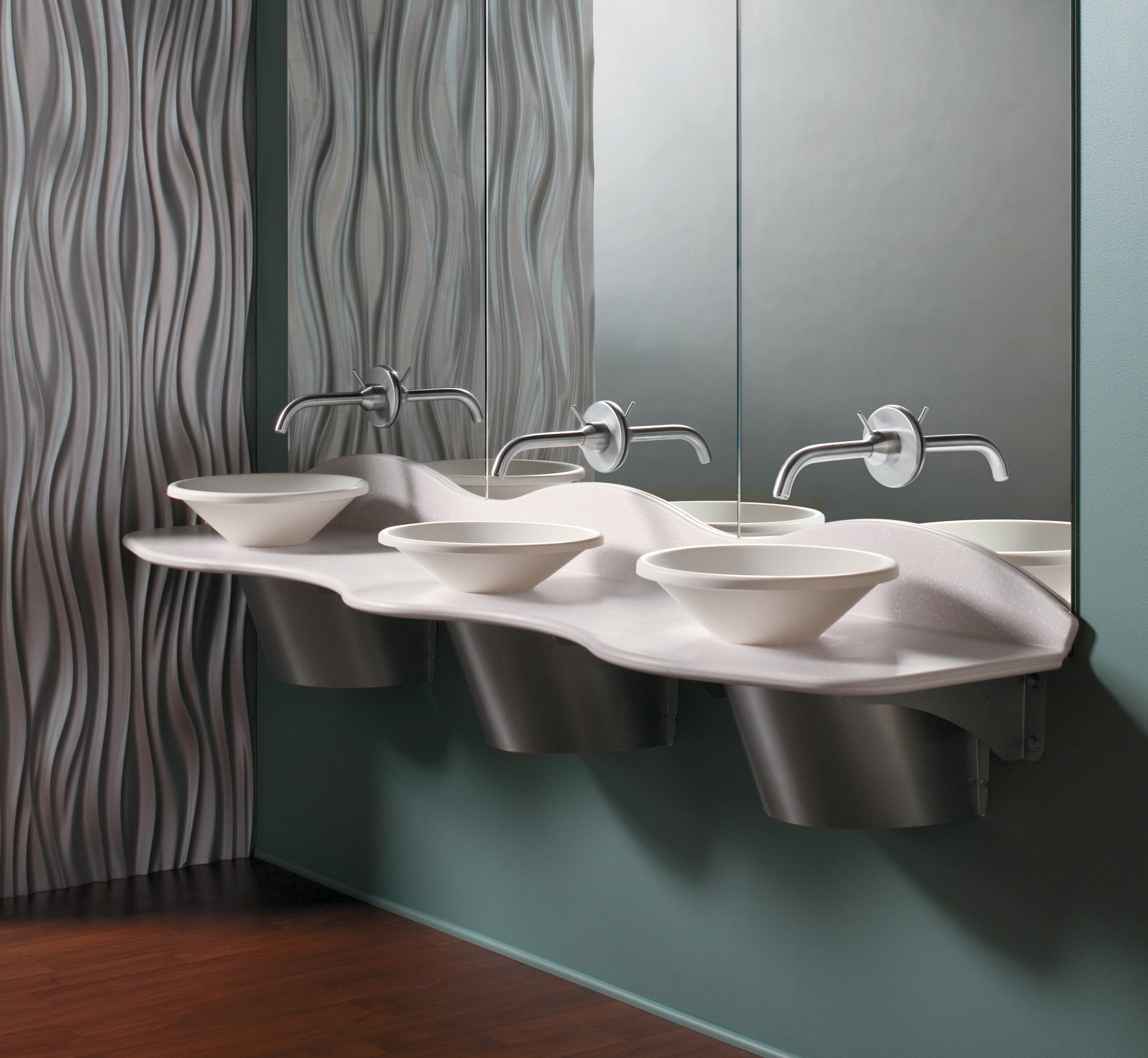 Bradley Bathroom Partitions Property omnideck with vessel bowls  bradley corporation