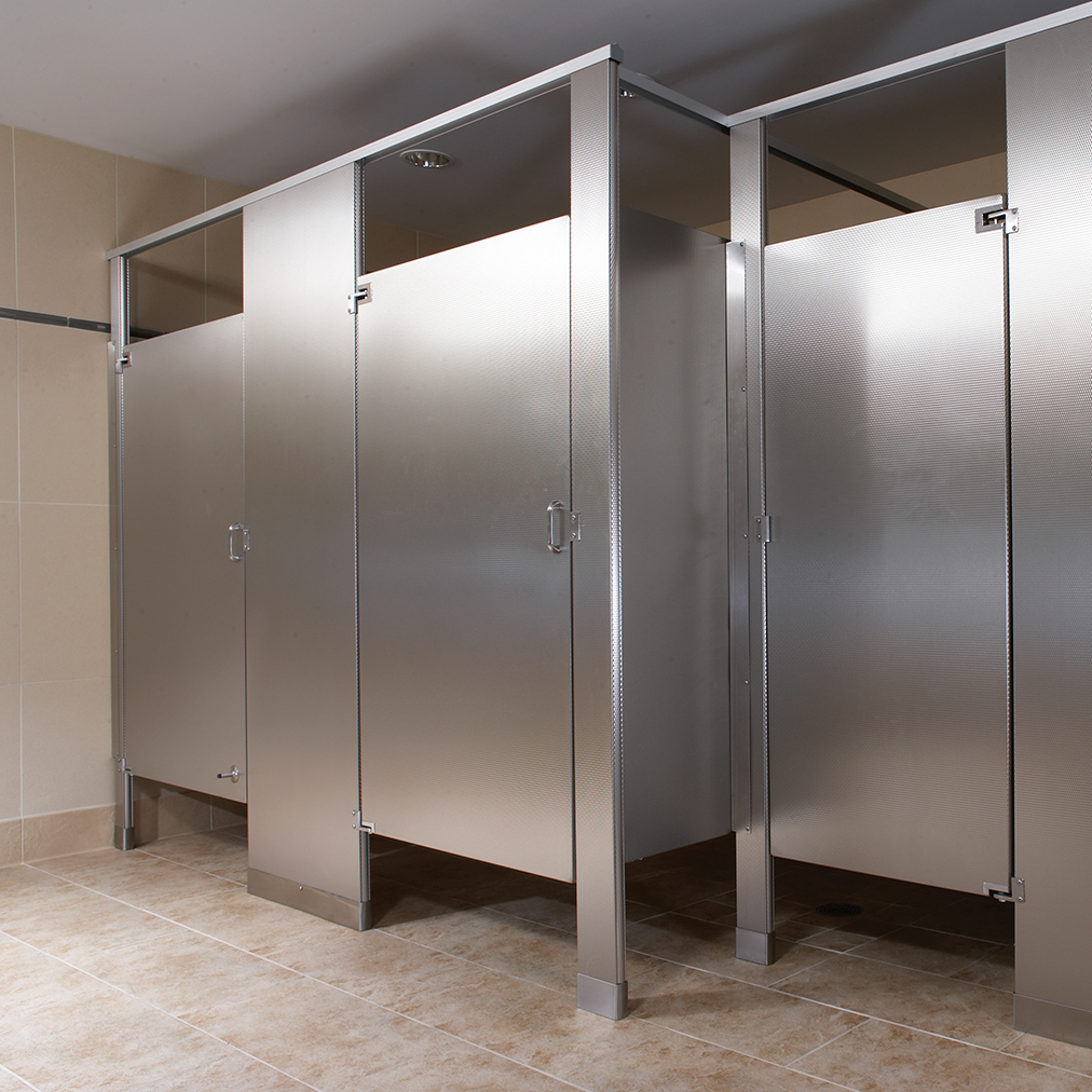 Stainless steel partitions bradley corporation for Stainless steel bathroom partitions