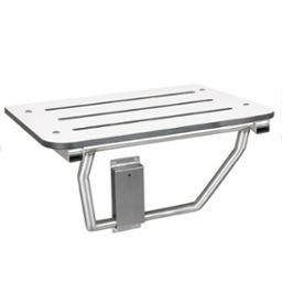 Folding ADA Compliant White Phenolic Shower Seat with satin finish stainless steel frame - Model 9562