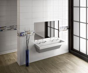 restroom featuring 2 double station L-Series Verge Lavatory Systems